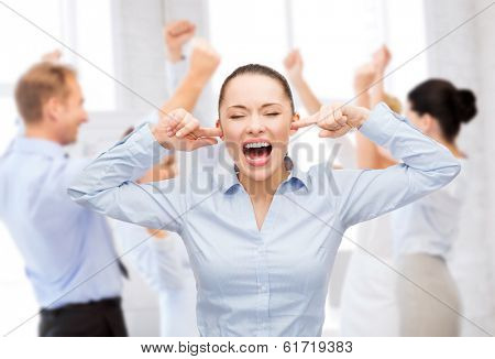 business, office and stress concept - angry screaming businesswoman