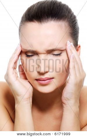 Portrait Of An Young Woman With Strong Headache