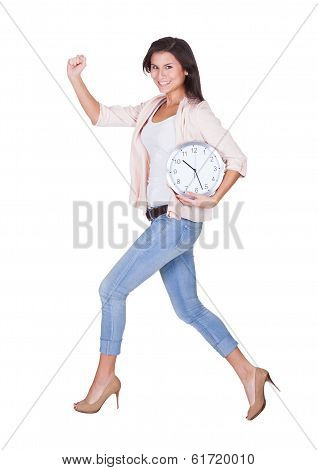 Sexy Woman With A Clock