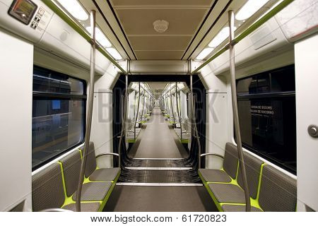 Interior view of empty modern subway car in Valencia, Spain.