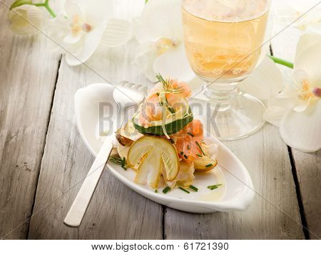 salad with shrimp salmon carpaccio and slice ovum mushroom