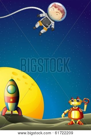 Illustration of an astronaut and a robot in the outerspace