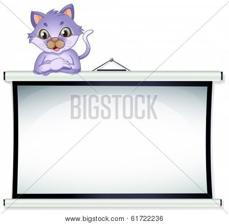 Illustration of an empty whiteboard with a cat on a white background