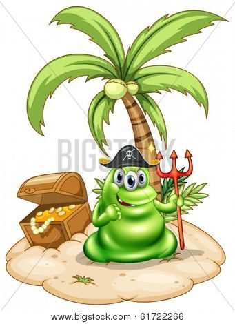 Illustration of a pirate monster in the island on a white background