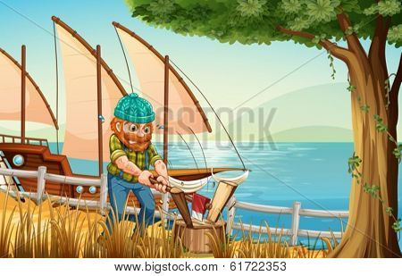 Illustration of a hardworking man chopping woods at the riverbank