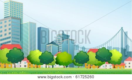 Illustration of the tall buildings in the city