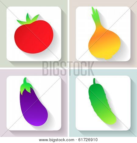 Flat design vegetable icons. Set of fruit. Vector illustration.