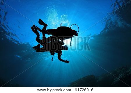 Two Scuba Divers silhouetted against sun