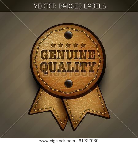 vector leather genuine label illustration