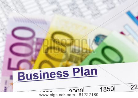 a business plan for starting a business. ideas and strategies for self-employment. euro banknotes.
