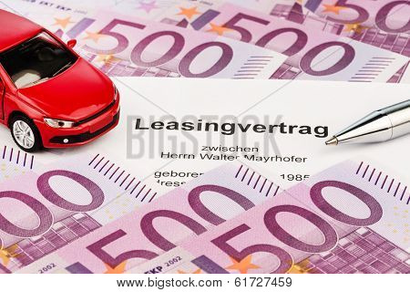 the lease (car leasing) for a new car at the car dealer