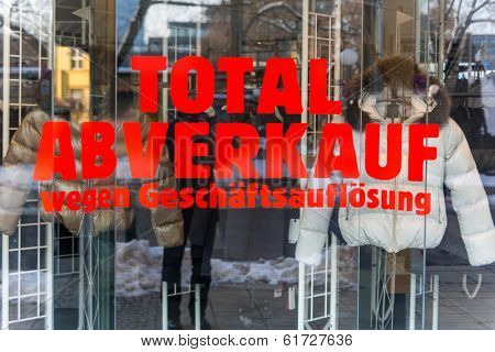 total sales for liquidation. symbolic photo for bankruptcy and retirement.