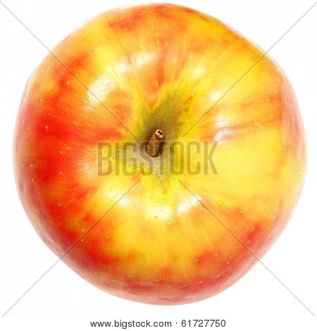 Yellow and Red Apple Over White Background