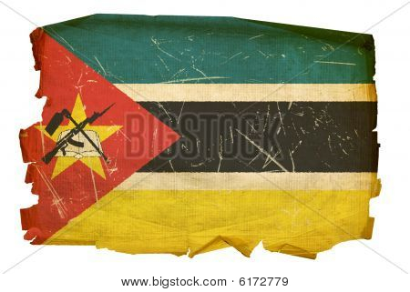 Mozambique Flag Old, Isolated On White Background.