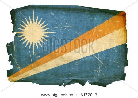Marshall Islands Flag Old, Isolated On White Background.