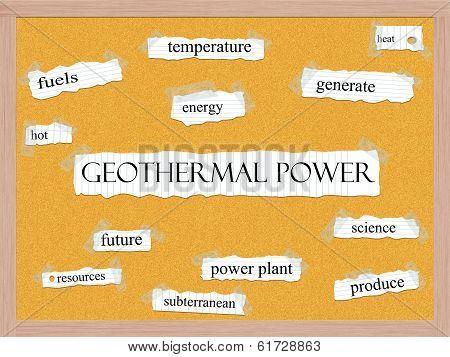 Geothermal Power Corkboard Word Concept