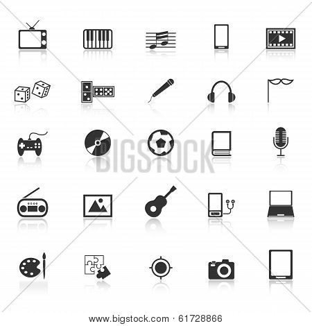 Entertainment Icons With Reflect On White Background
