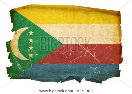 Comoros Flag Old, Isolated On White Background.
