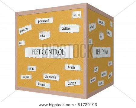Pest Control 3D Cube Corkboard Word Concept