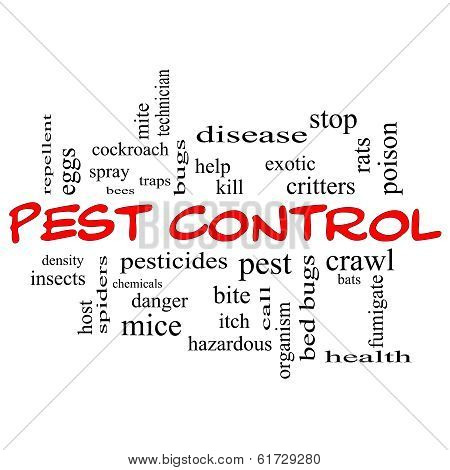 Pest Control Word Cloud Concept In Red Caps