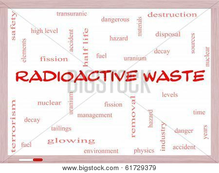 Radioactive Waste Word Cloud Concept On A Whiteboard