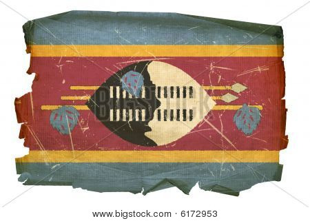 Swaziland Flag Old, Isolated On White Background