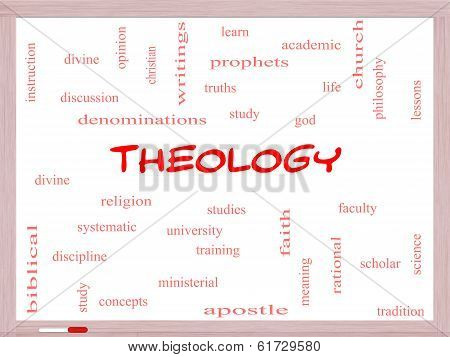Theology Word Cloud Concept On A Whiteboard