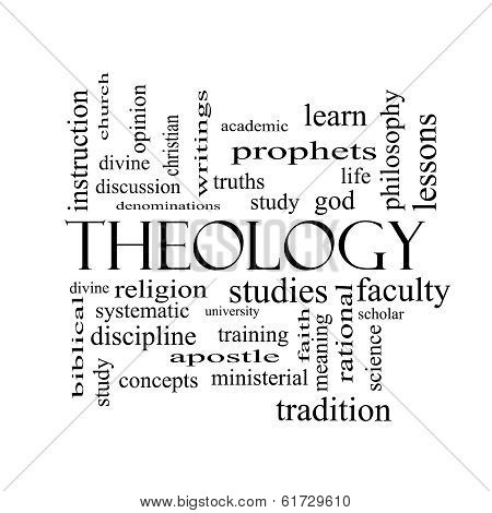 Theology Word Cloud Concept In Black And White