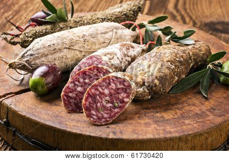 salami on the wooden board