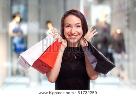 Shopping Girl with showcase background