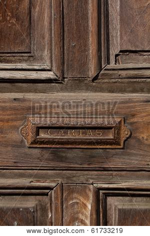 Old Door And Letterbox Slot In The House Antigua Guatemala