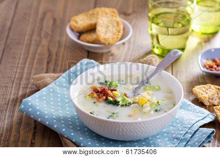 Broccoli and corn chowder