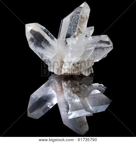 Lovely terminated white Quartz, Rock Crystal with reflection on black surface background