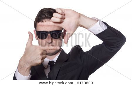 Businessman With Sunglasses Framing His Face