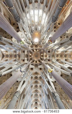 Architectural detail inside the Temple of the Sagrada Familia