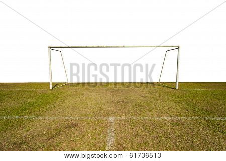 Empty soccer goal with white back ground, Soccer Goal, football goals with green grass.