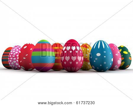 Group of colorful Easter eggs 3d illustration