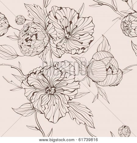 Vector sepia seamless background with peony