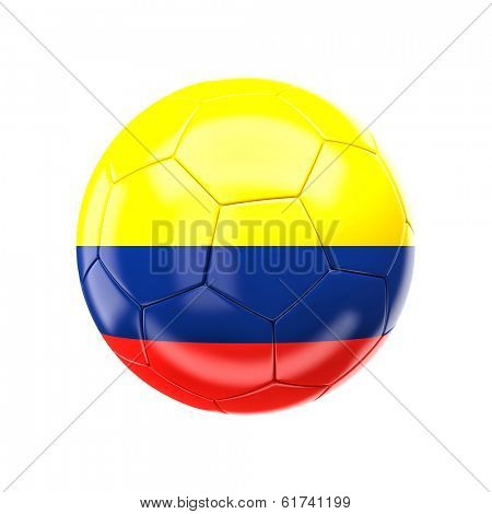 3d soccer ball with colombia flag