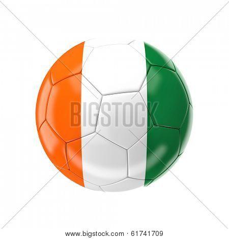3d soccer ball with ivory coast  flag