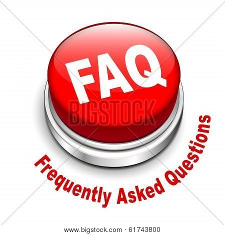3D Illustration Of Faq (frequently Asked Questions) Button