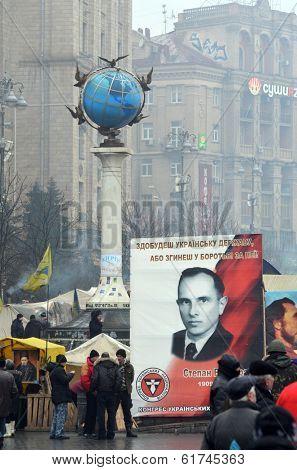 EV, UKRAINE - FEB 10, 2014: Stephan Bandera poster (Ukrainian nationalist icon ). Downtown of Kiev. Riot in Kiev and Western Ukraine.February 10, 2014 Kiev, Ukraine