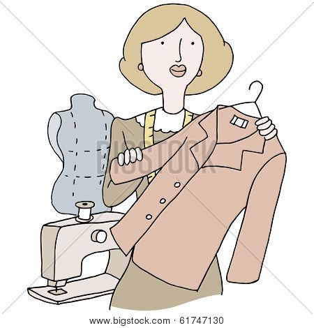An image of a female garment tailor.