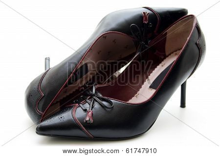 Black Lady Shoes on white background