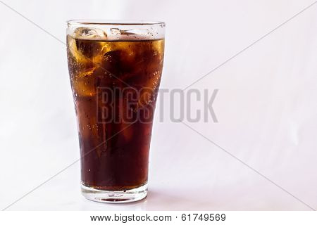 Coke Glass On A White Background.