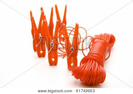 Clothes pegs with clothesline