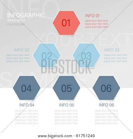 Hexagon info graphic - hierarchy chart