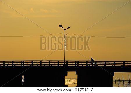 People Ride Bicycle On The Bridge