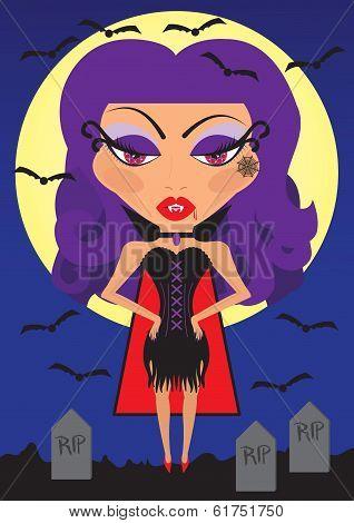 Sexy Halloween Vampire Woman Vector Illustration