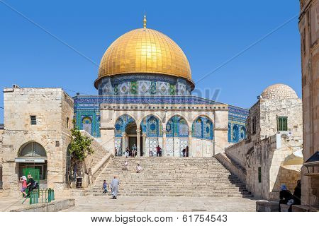 JERUSALEM, ISRAEL - AUGUST 21, 2013: Dome of the Rock - a mosque constructed between 689 and 691 CE on the site of Jewish Second Temple and located on Temple Mount in Old City of Jerusalem, Israel.